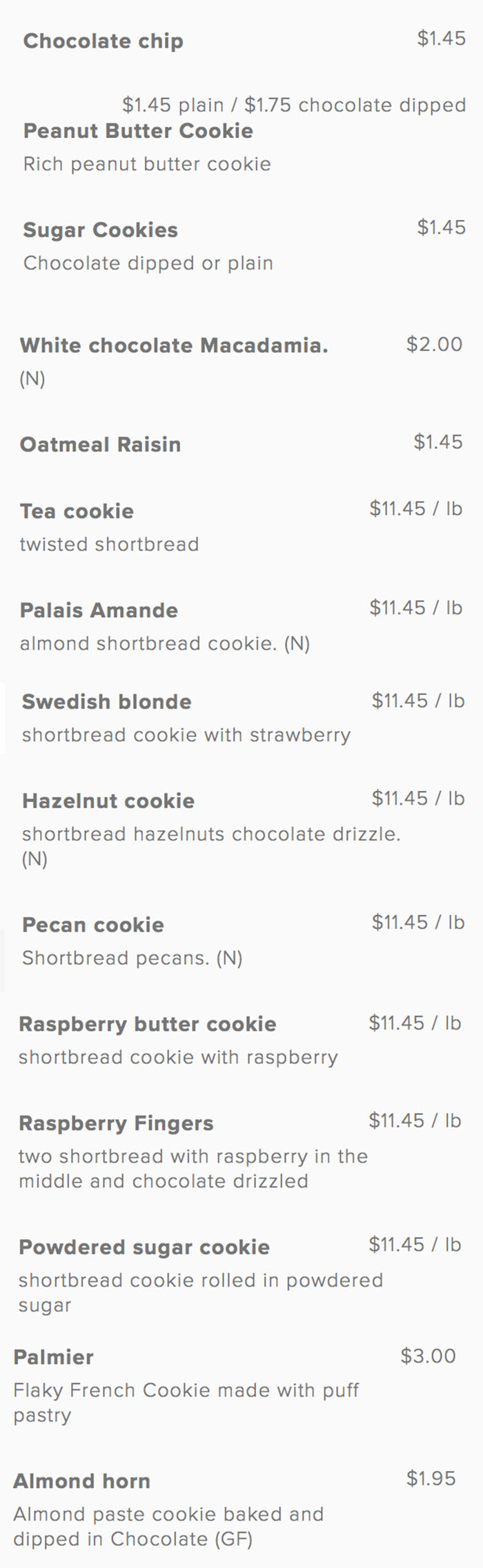 Gourmandise bakery menu - cookies