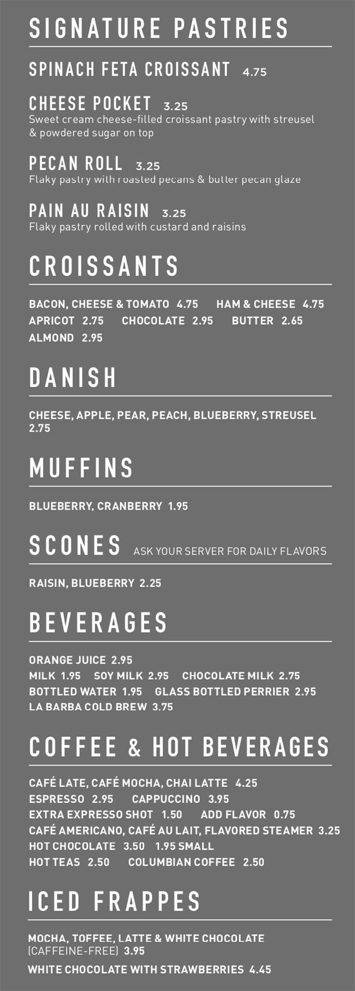 Gourmandise breakfast menu - pastries, sweet, drinks