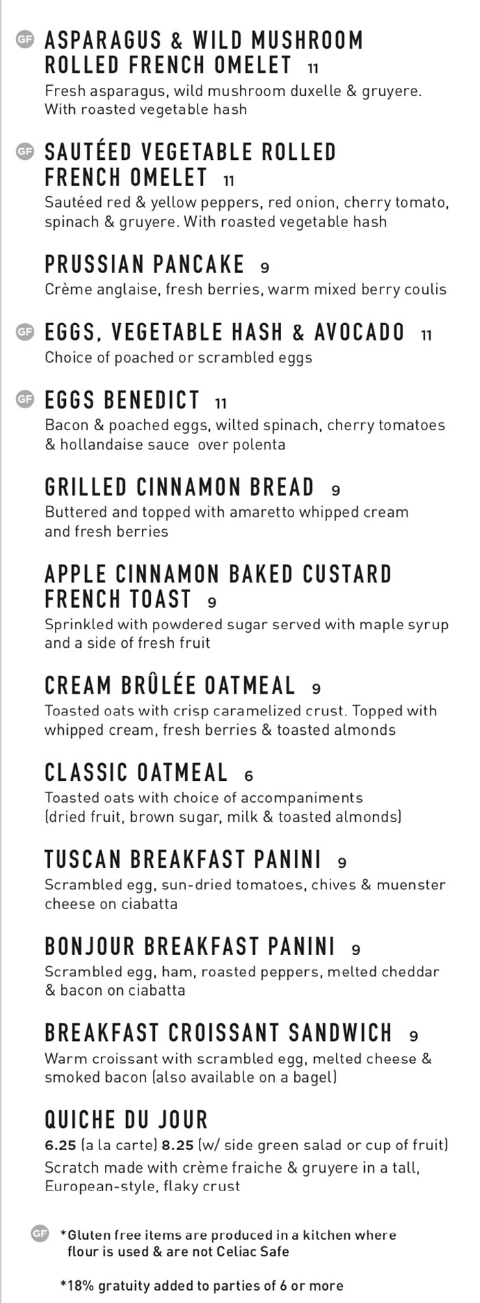 Gourmandise breakfast menu - savory