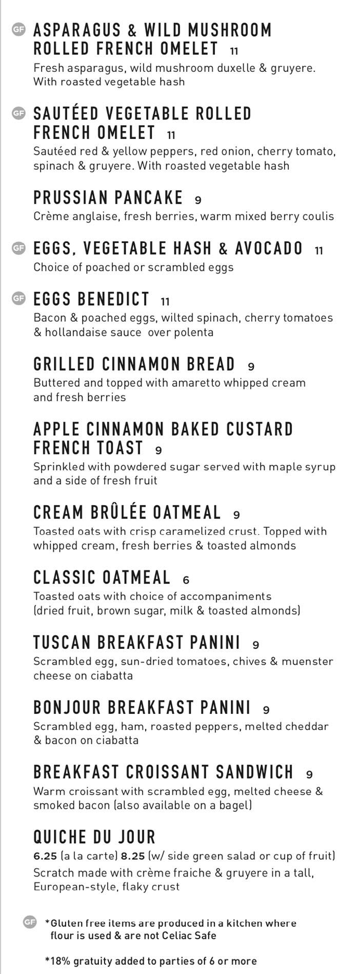 Gourmandise breakfast menu - savory