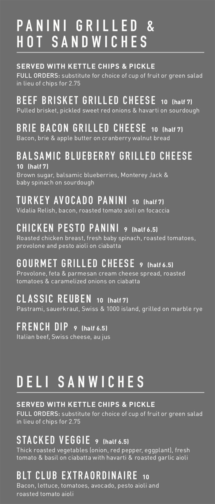 Gourmandise dinner menu - panini, sandwiches