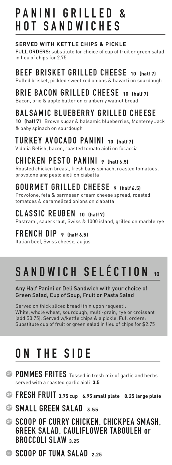 Gourmandise lunch menu - panini, sandwiches, sides
