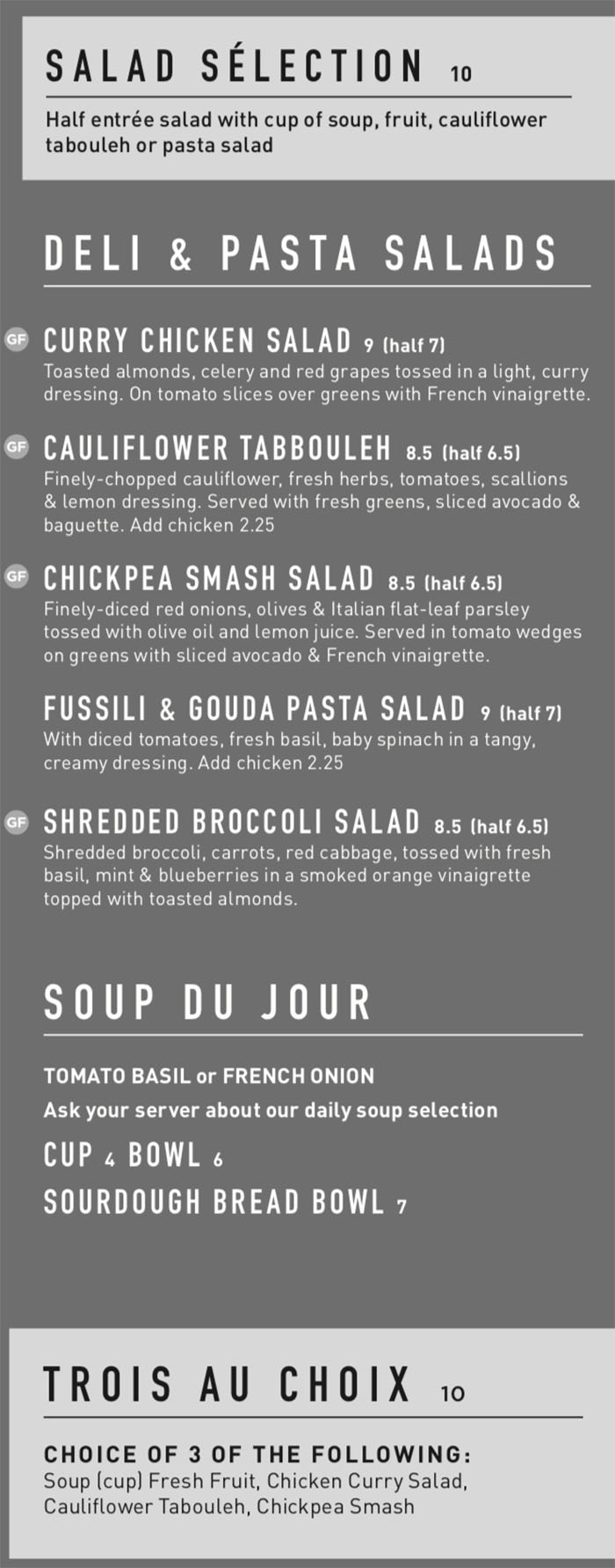 Gourmandise lunch menu - salads, soup