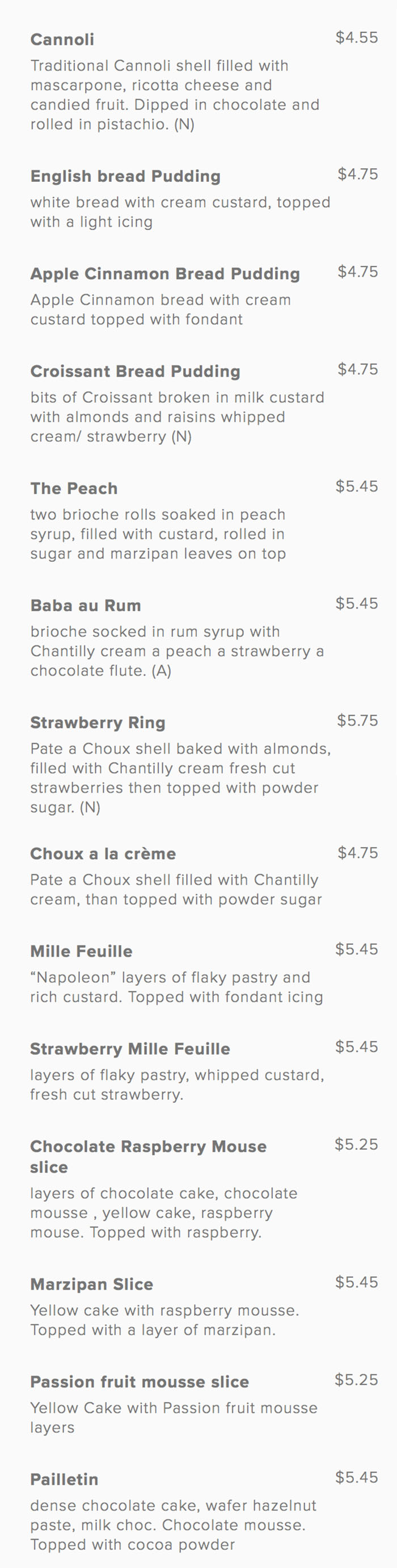 Gourmandise pastries menu one