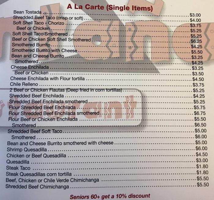 La Montana menu - ala carte items