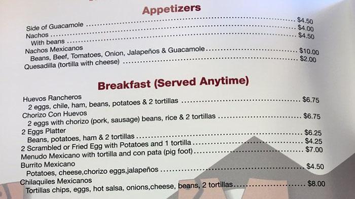 La Montana menu - appetizers, breakfast