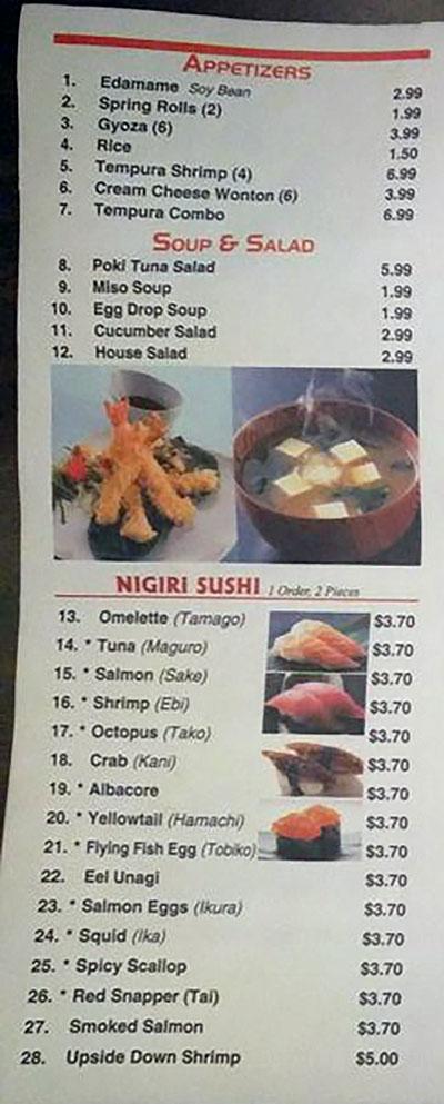 Sushi House menu - appetizers, soups, salads, nigiri sushi