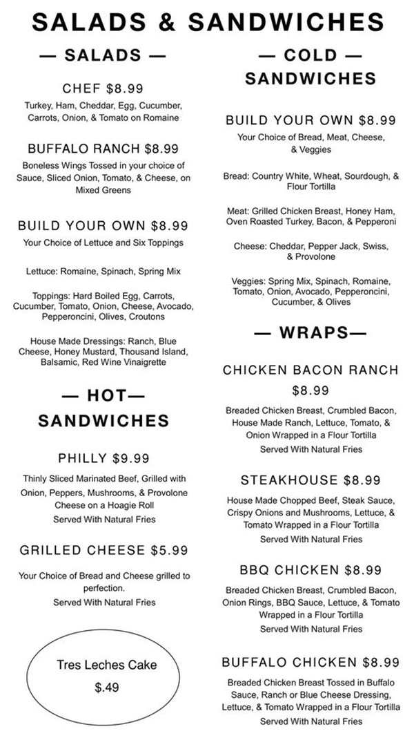 The Day Cafe menu - salads, sandwiches