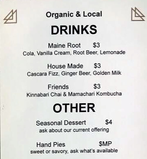 The Dispensary menu - drinks, other