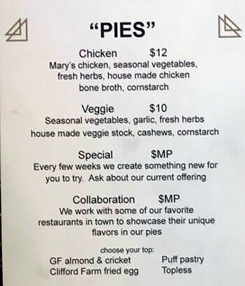 The Dispensary menu - pies