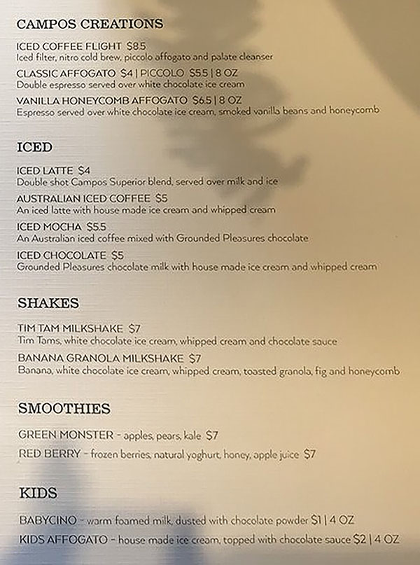 Campos Roastery And Kitchen menu - other drinks