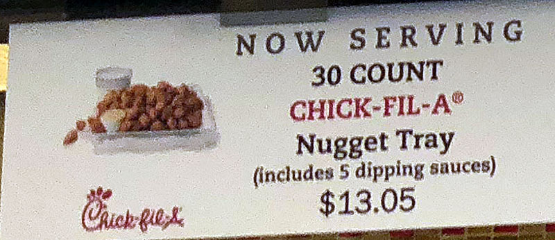 Chick-fil-A menu - 30 count nugget tray