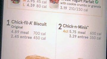 Chick-fil-A menu with prices