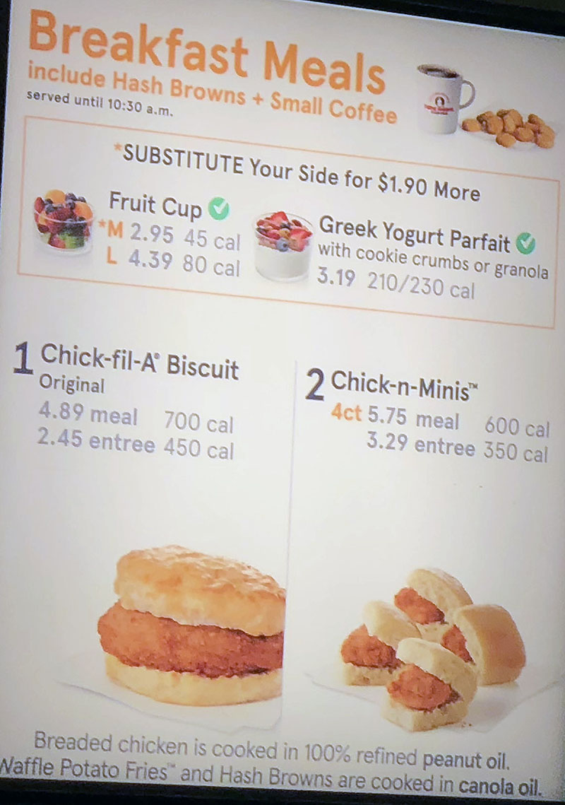 Chick-fil-A menu - breakast meals
