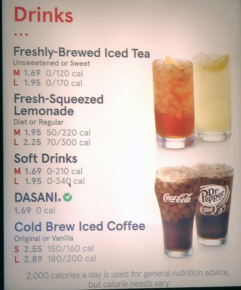 Chick-fil-A menu - drinks