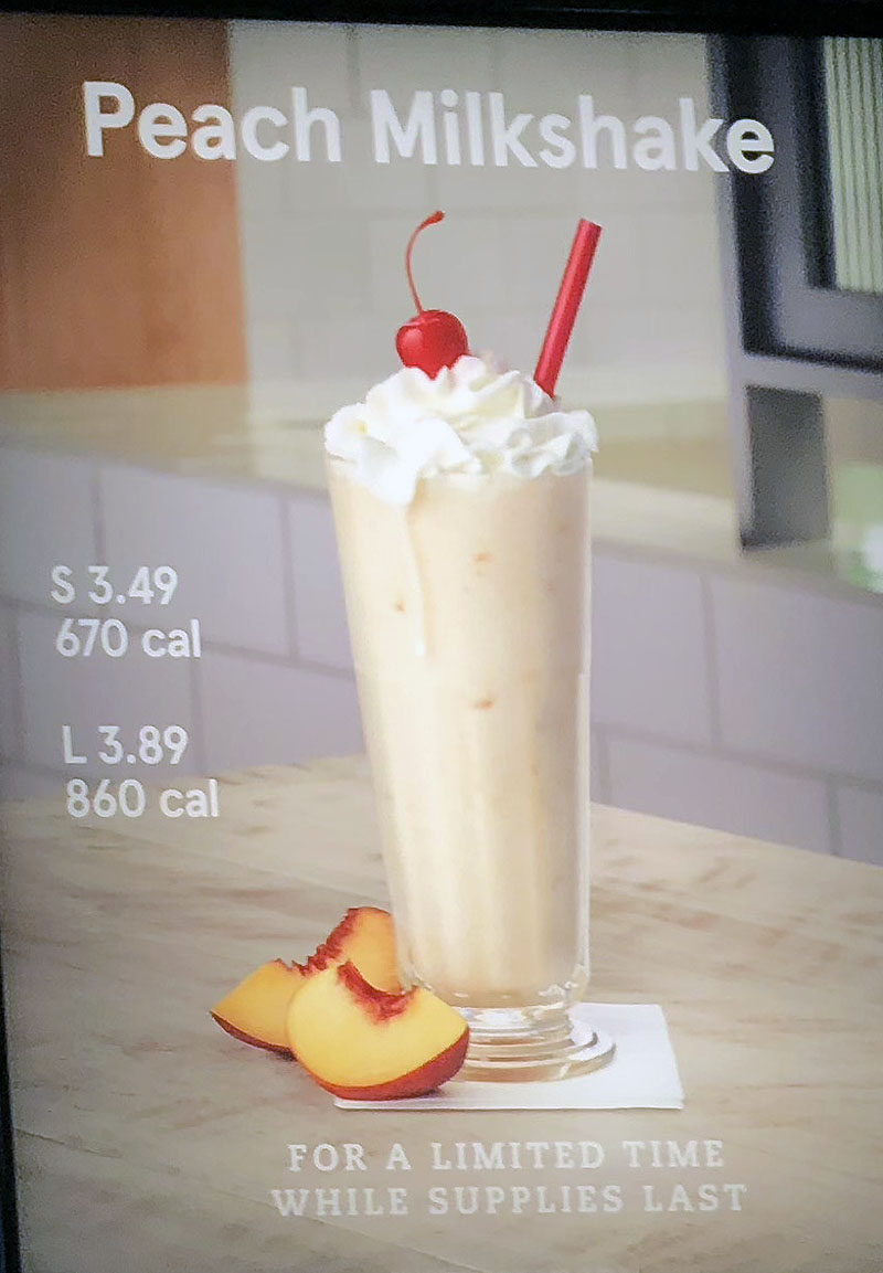 Chick-fil-A menu - limited time peach milkshake