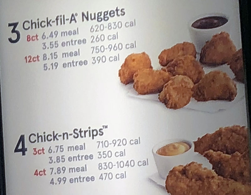 Chick-fil-A menu - original meals continued