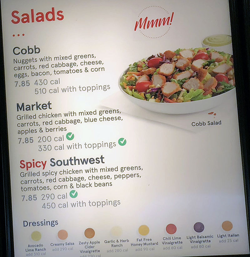 Chick-fil-A menu - salads