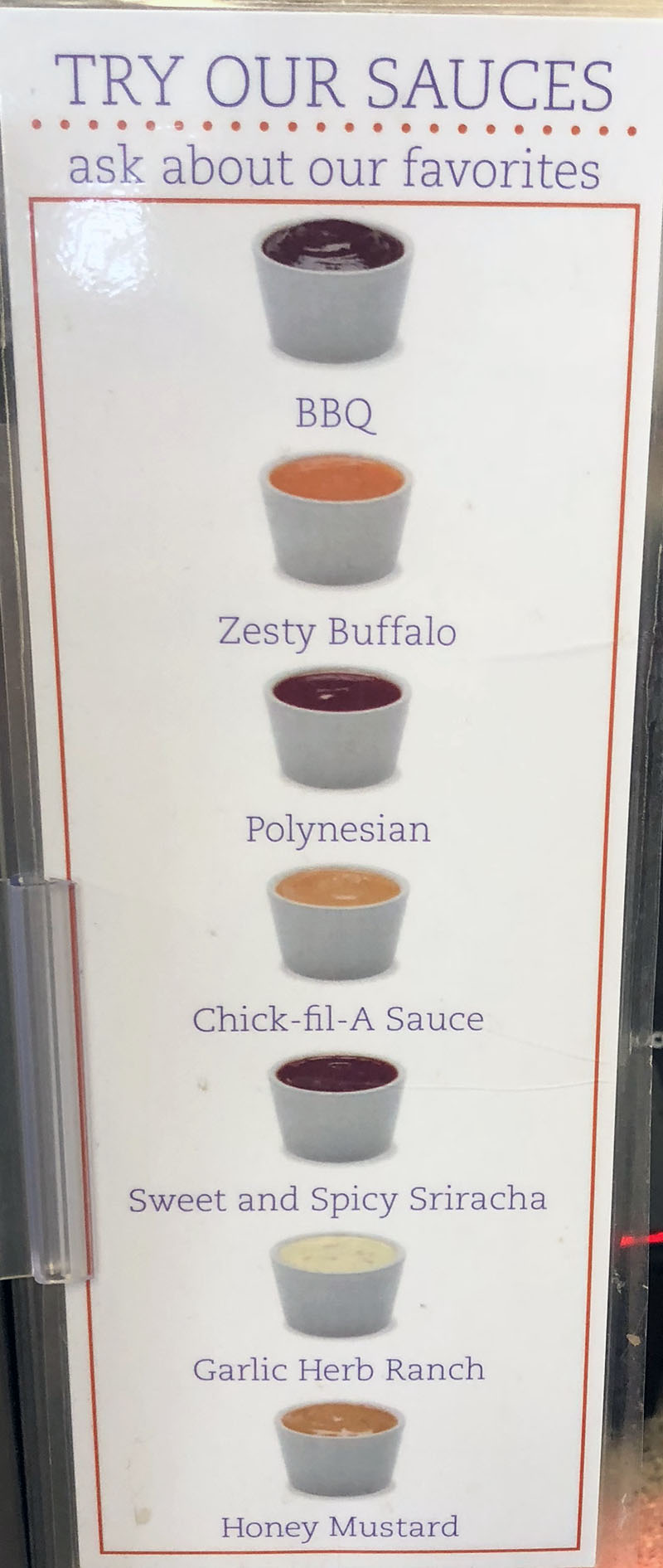 Chick-fil-A menu - sauces