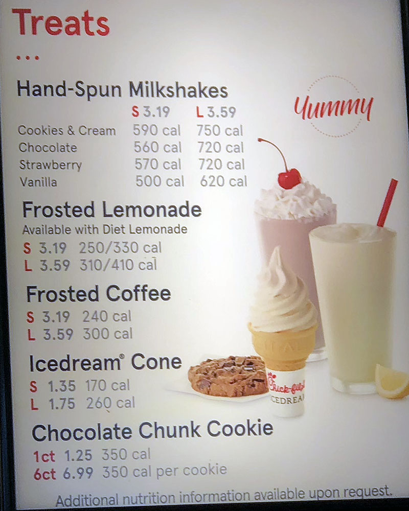 Chick-fil-A menu - treats