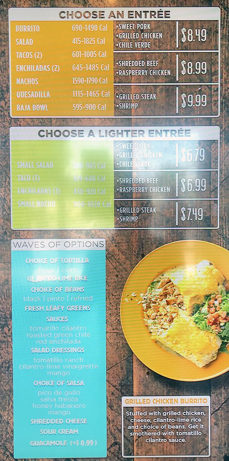 Costa Vida menu - choose entree