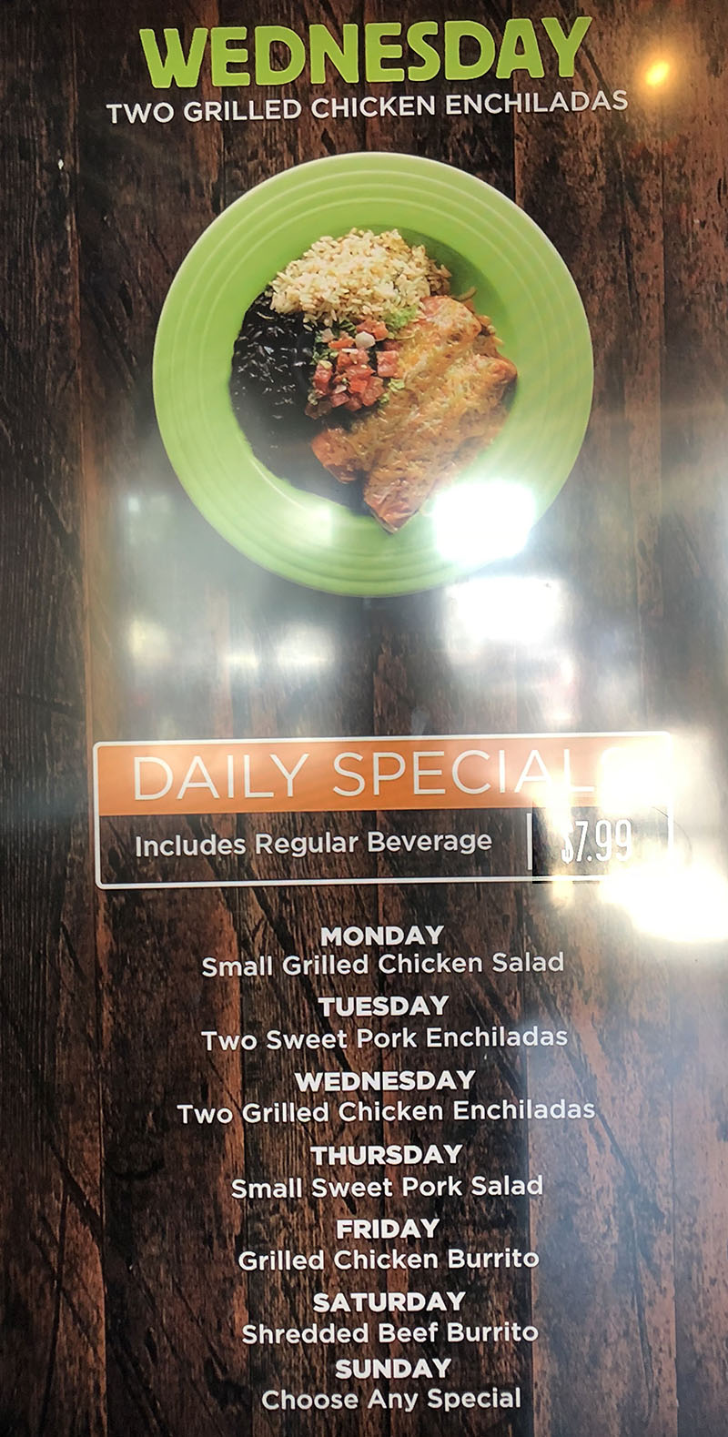 Costa Vida menu - daily specials