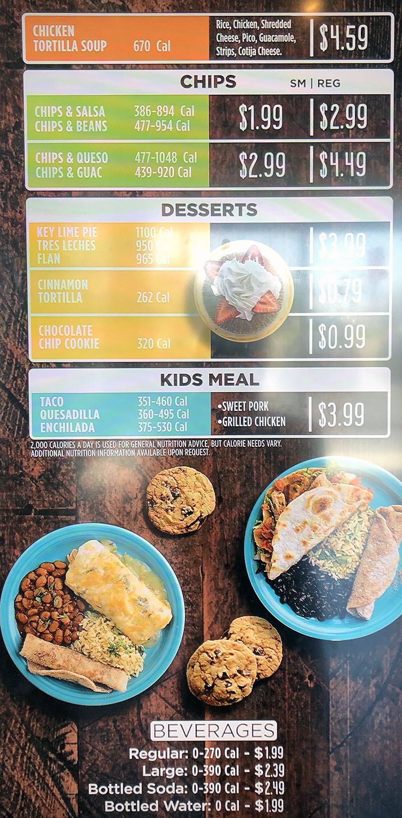 Costa Vida menu - other items