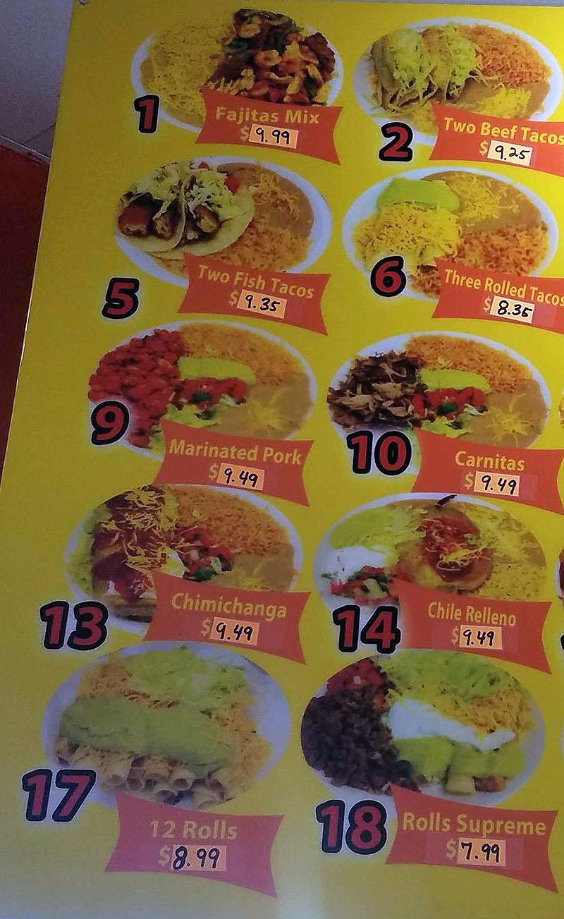 El Famous Betos menu - plates