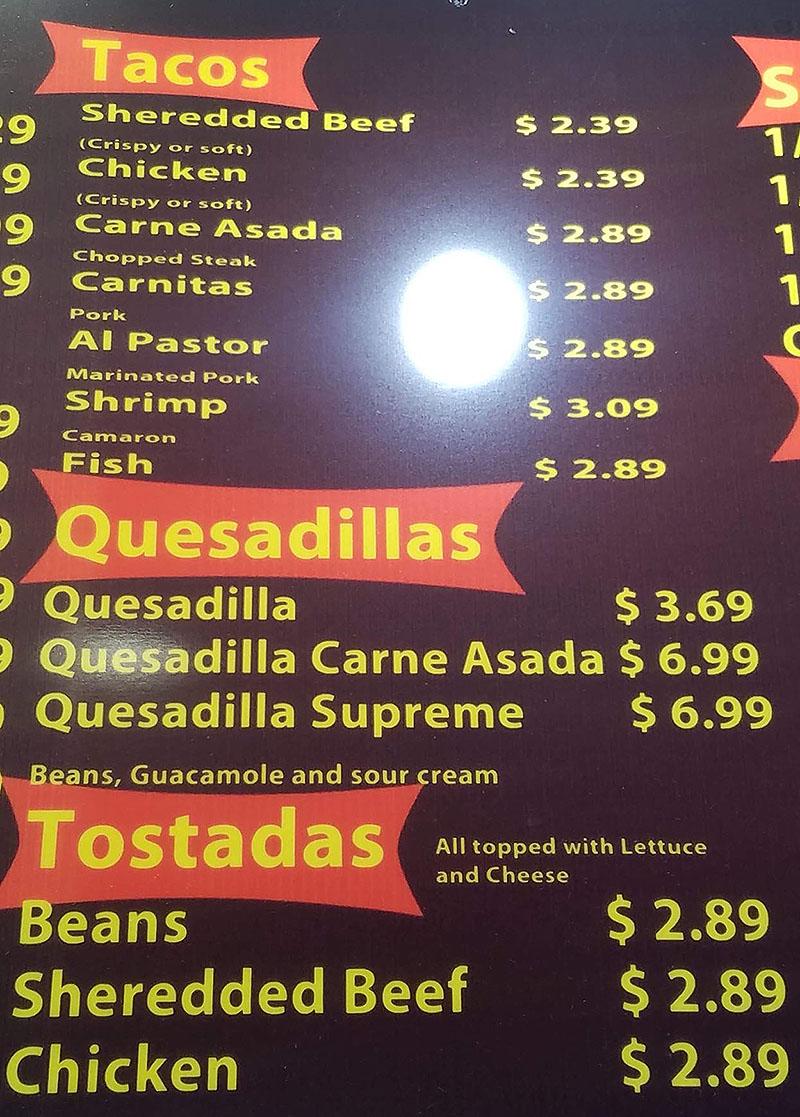 El Famous Betos menu - tacos, quesadillas, tostadas