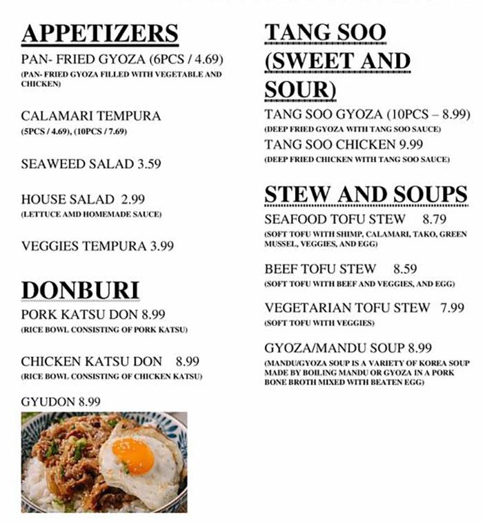 Jin's Restaurant menu - appetizers, donburi, tang soo, stew and soups