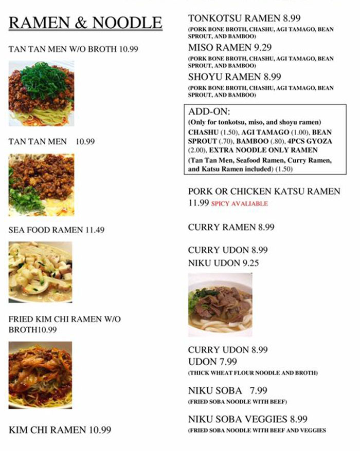 Jin's Restaurant menu - ramen, noodle