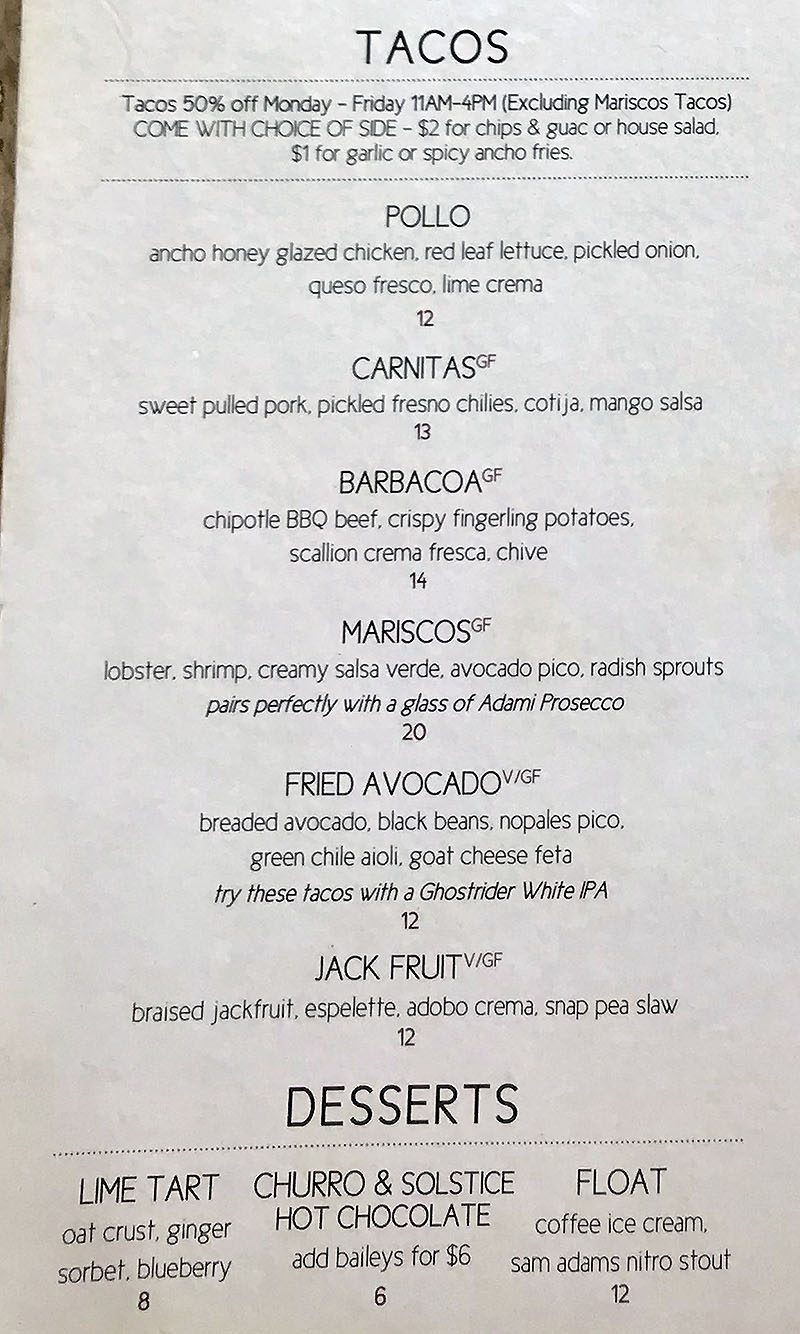 Lake Effect menu - lunch and dinner tacos, desserts