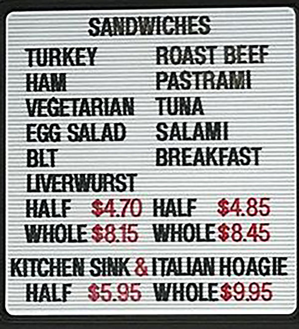 Legers Family Deli menu - sandwiches