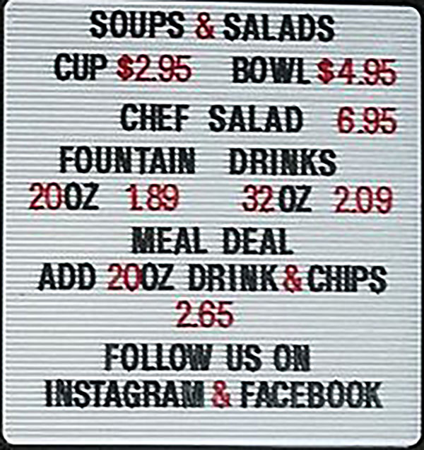 Legers Family Deli menu - soups, drinks, meal deal