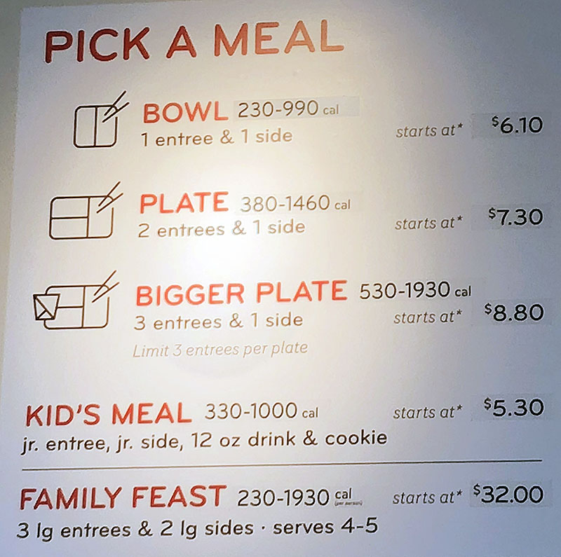 Panda Express menu - pick a meal
