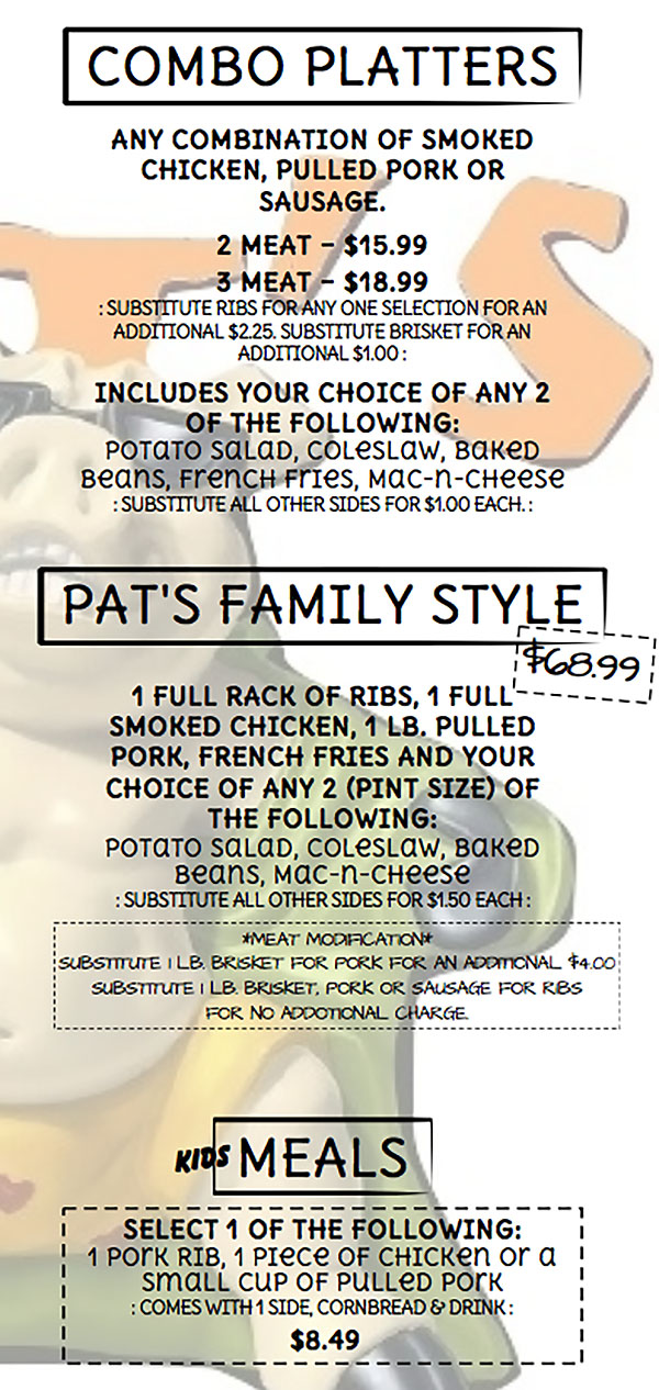 Pat's BBQ menu - combo platters, pats family style, meals