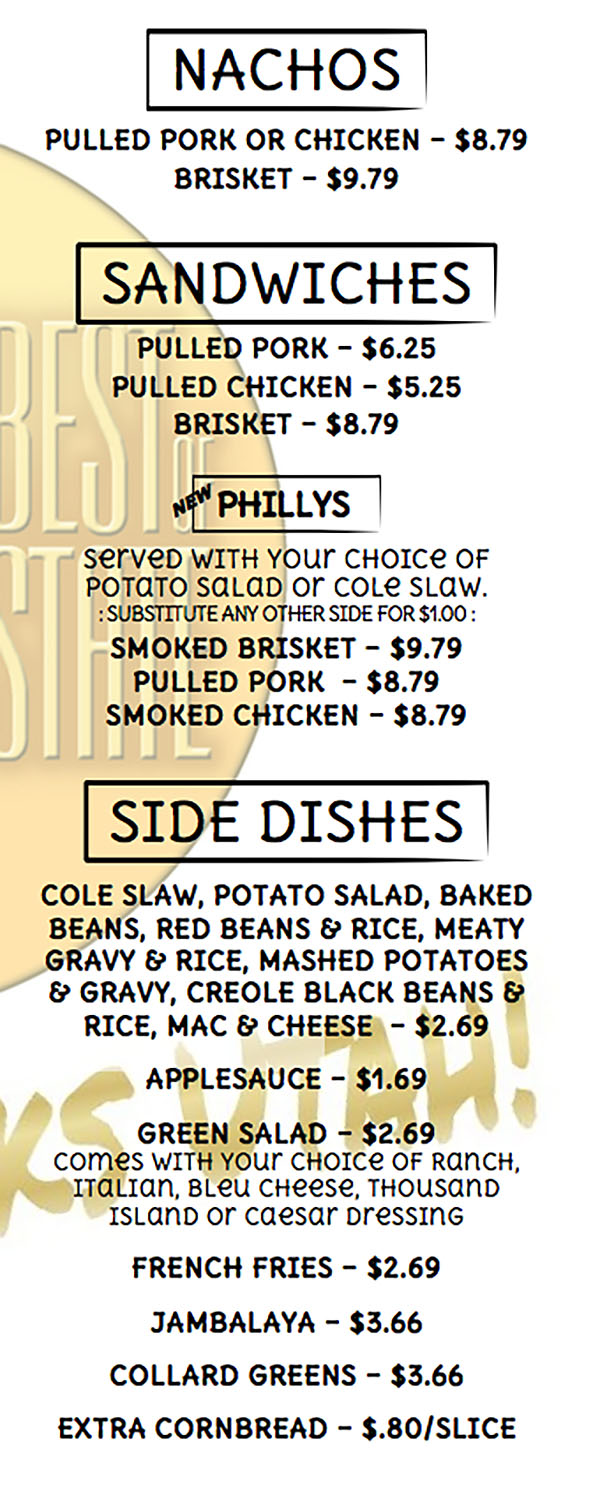 Pat's BBQ menu - nachos, sandwiches, sides