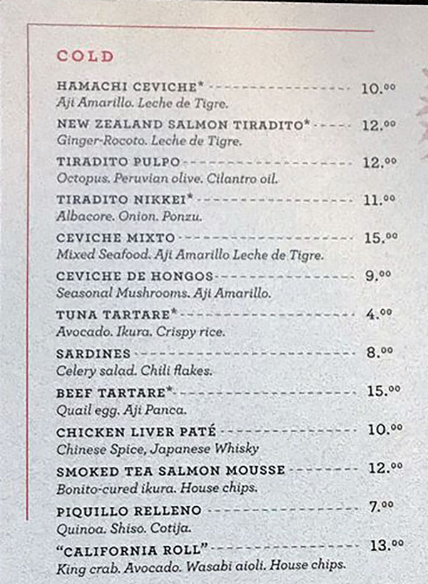 Post Office Place menu - cold dishes