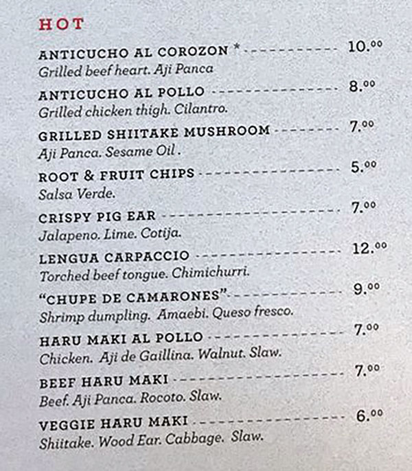 Post Office Place menu - hot dishes