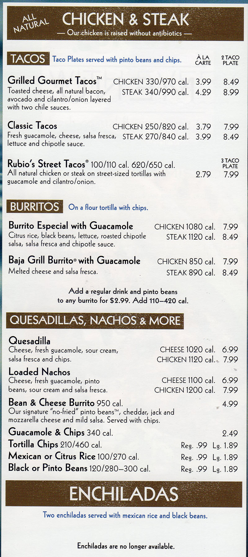 Rubio's menu - chicken and steak, burritos, quesadillas, nachos and more