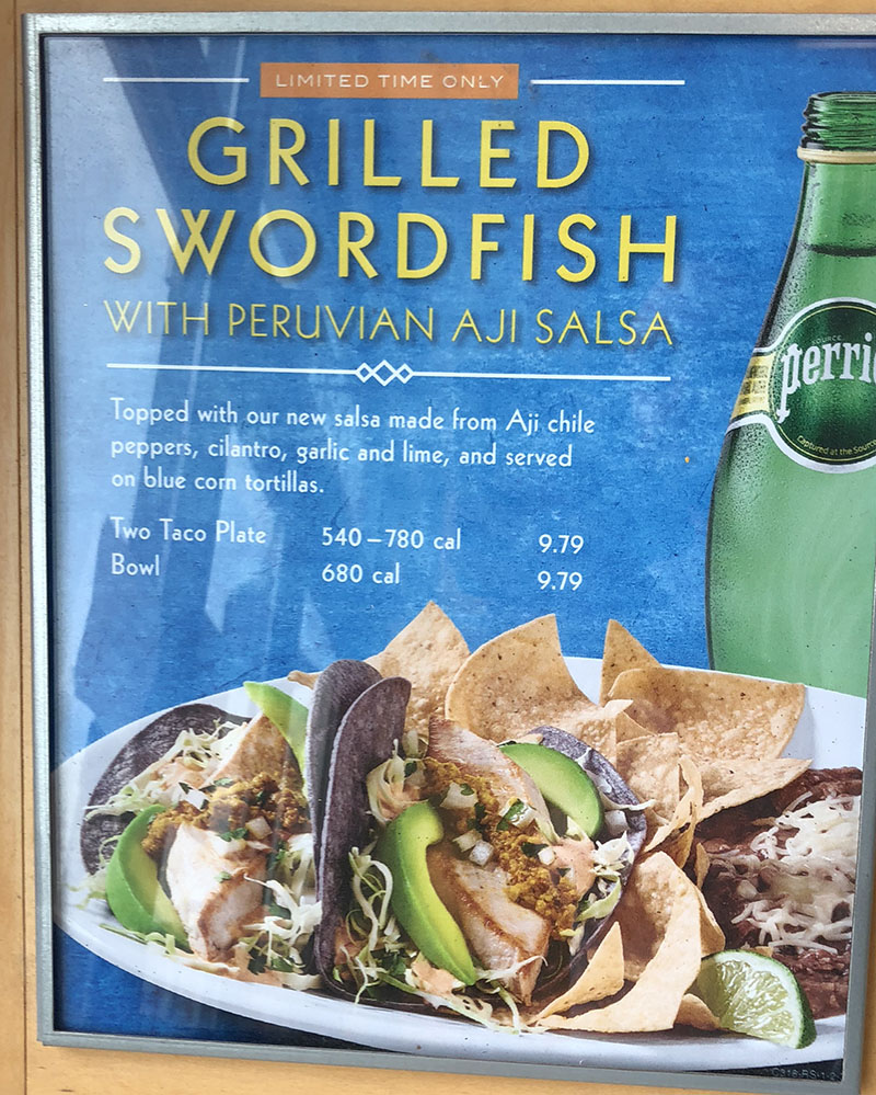 Rubio's menu - limited time only grlled swordfish