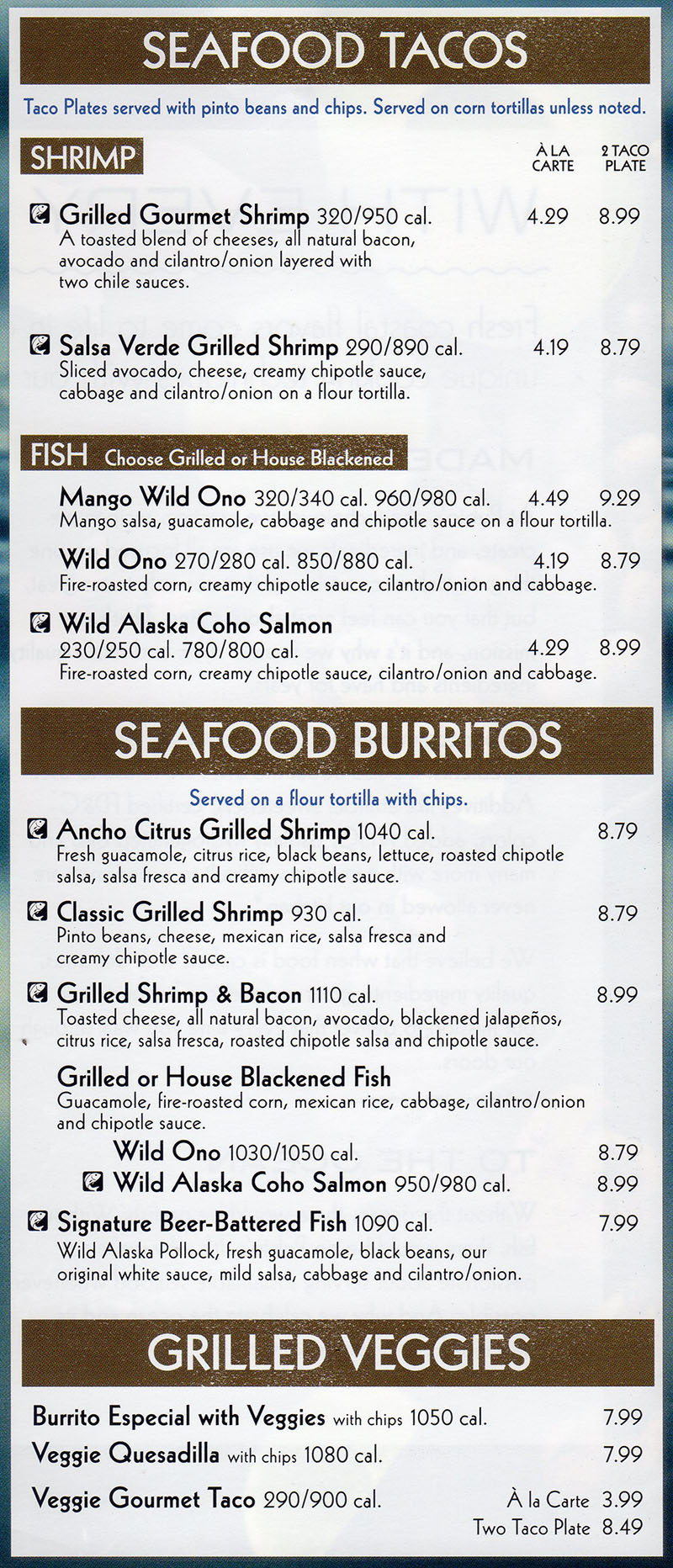 Rubio's menu - seafood tacos, seafood burritos, grilled veggies