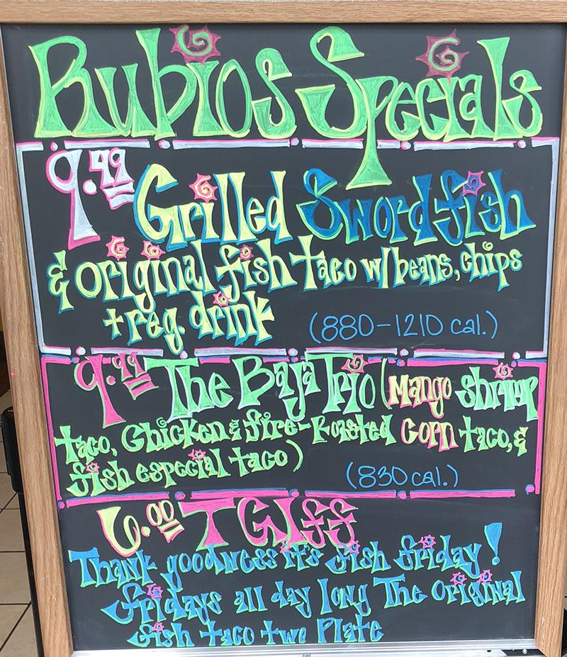 Rubio's menu - specials in July 2018