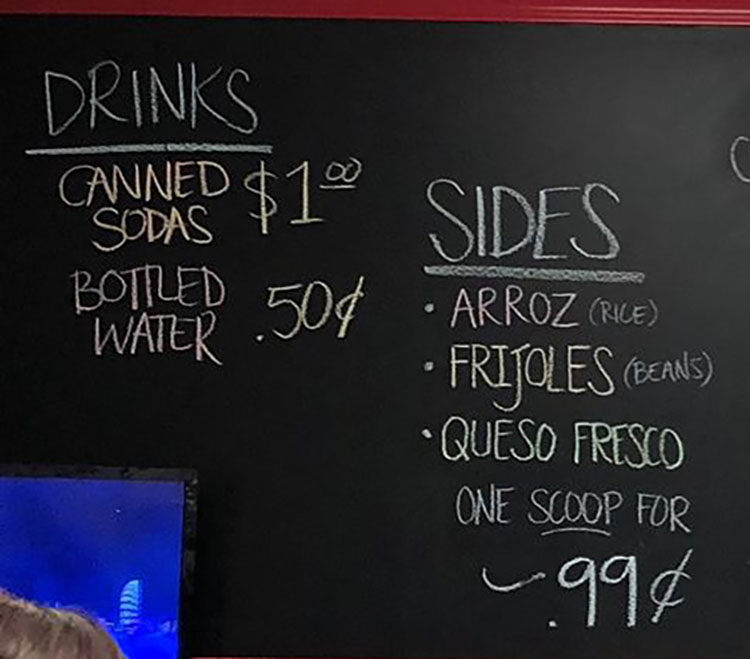 Taqueria Los Lee menu - drinks, sides