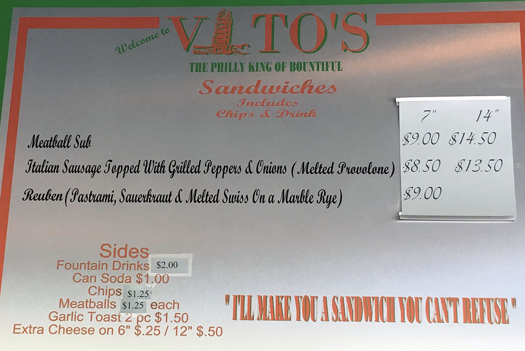 Vito's menu - subs, sandwiches, sides