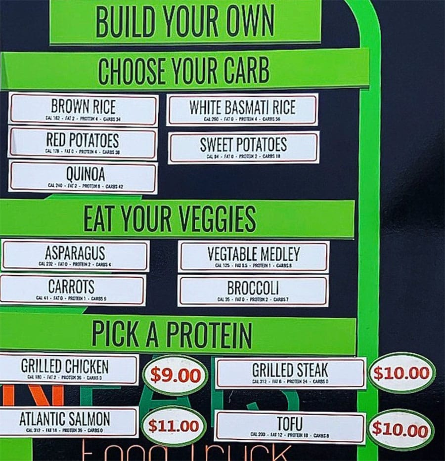 Clean Eats food truck menu - build your own