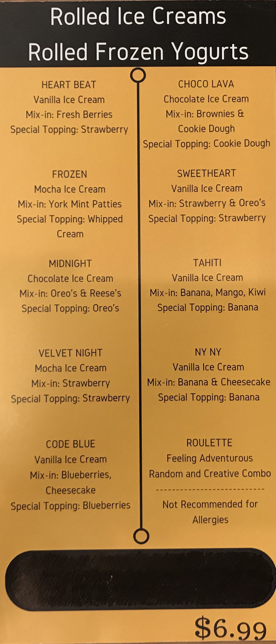 Doki Doki menu - rolled ice cream, rolled frozen yogurt