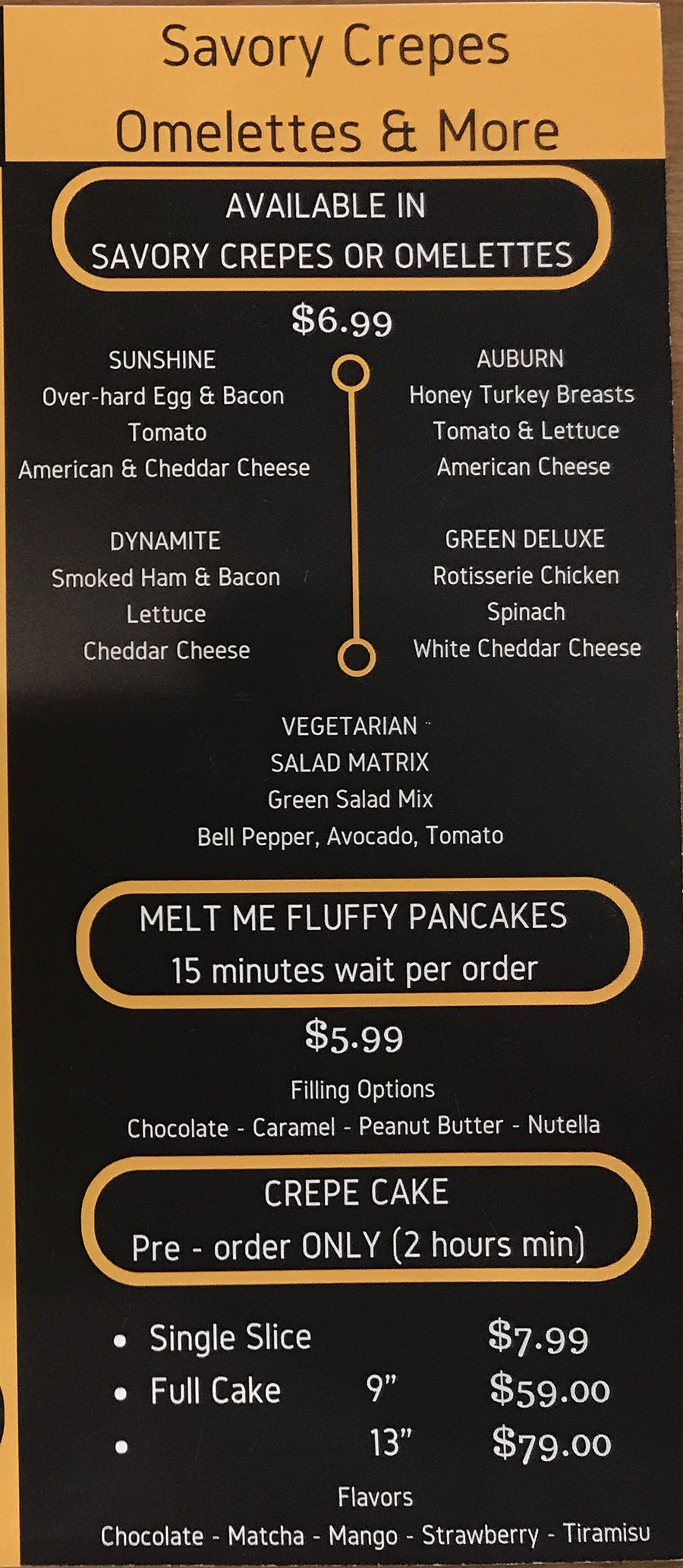 Doki Doki menu - savory crepes, omelettes and more