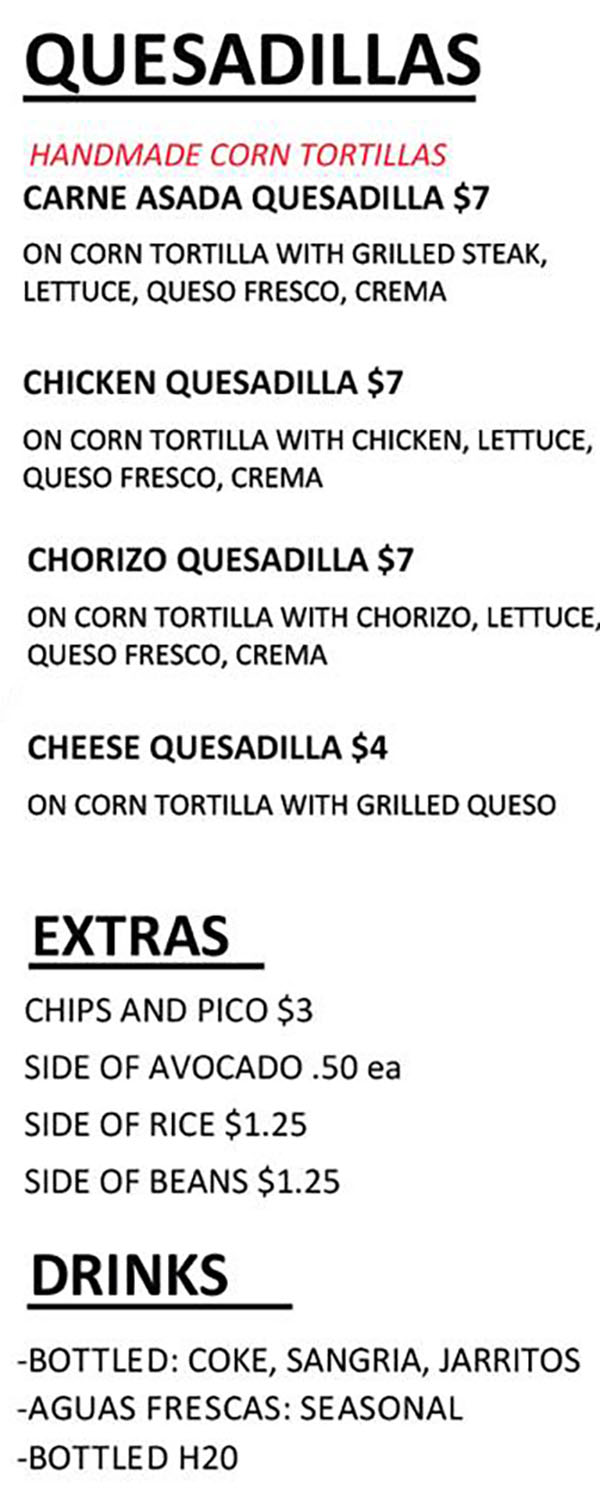 Maize food truck menu - quesadillas, extras, drinks