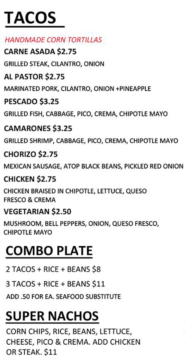 Maize food truck menu - tacos, combo plate, super nachos